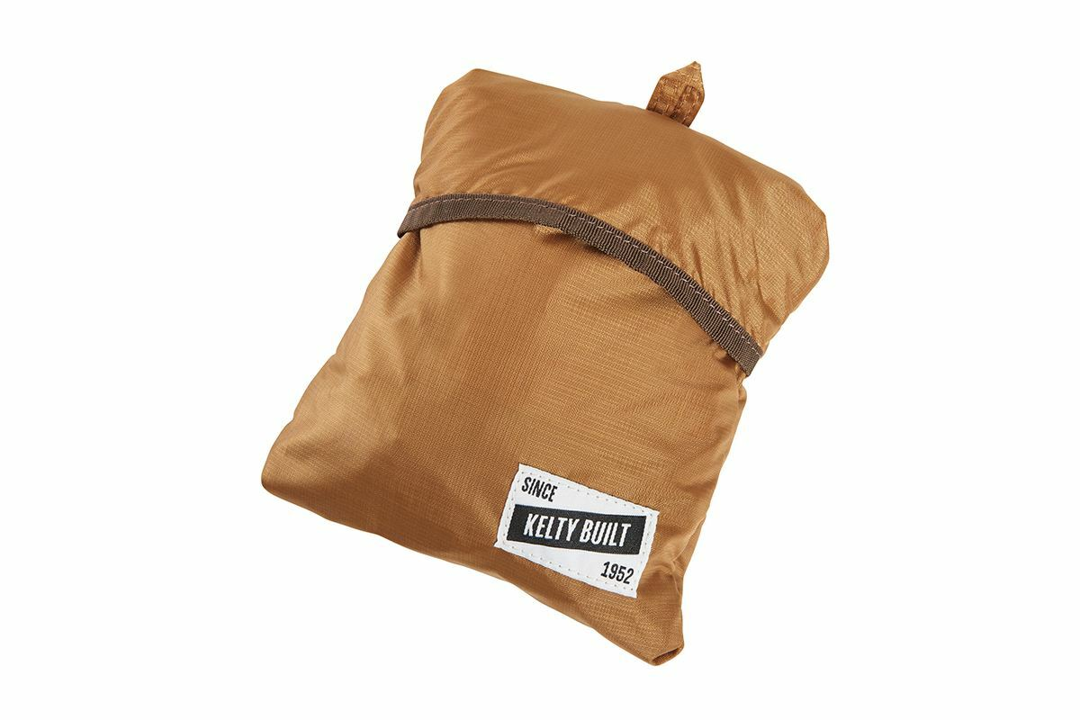 Kelty Totes Tote, Canyon Brown/Latigo Bay, shown stuffed into its own water bottle pocket