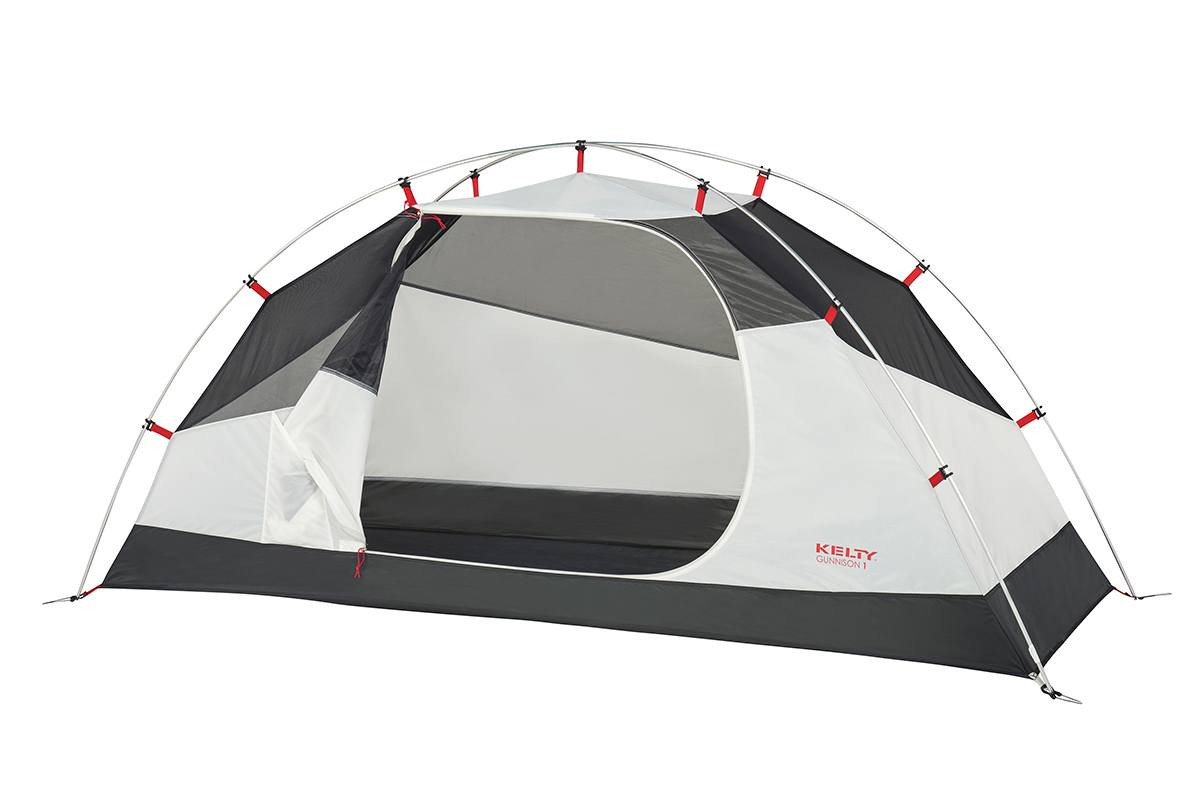 Kelty Gunnison 1 Tent, white, with rain fly removed and door opened