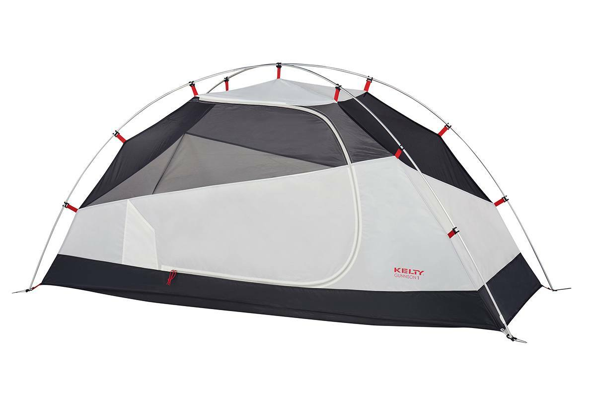 Kelty Gunnison 1 Tent, white, with rain fly removed and door closed