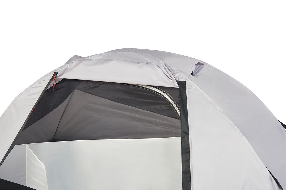 Close up of Kelty Gunnison 1 Tent, with rain fly opened, showing black mesh fabric on tent door