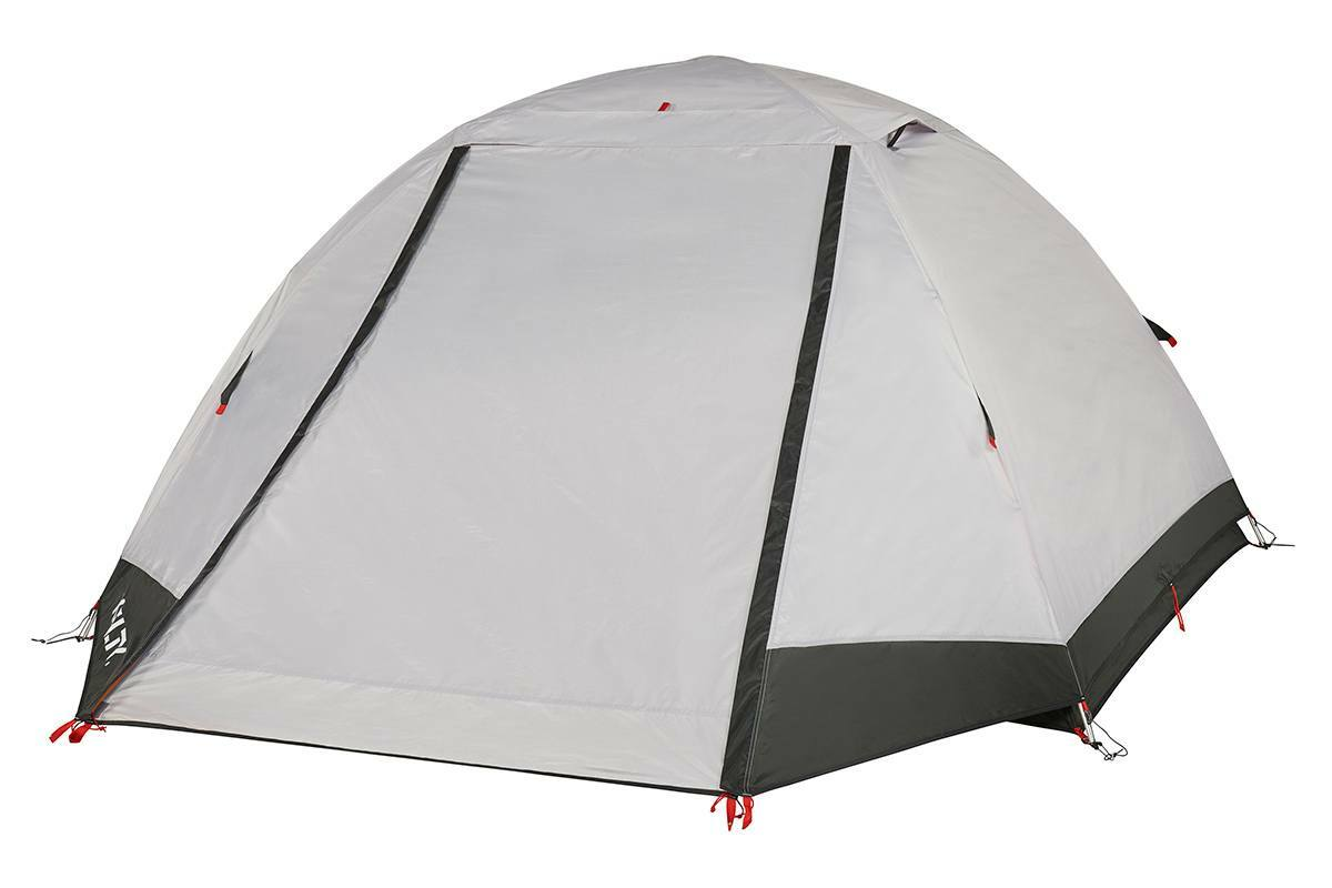 Kelty Gunnison 3 Tent, white, with rain fly attached and closed