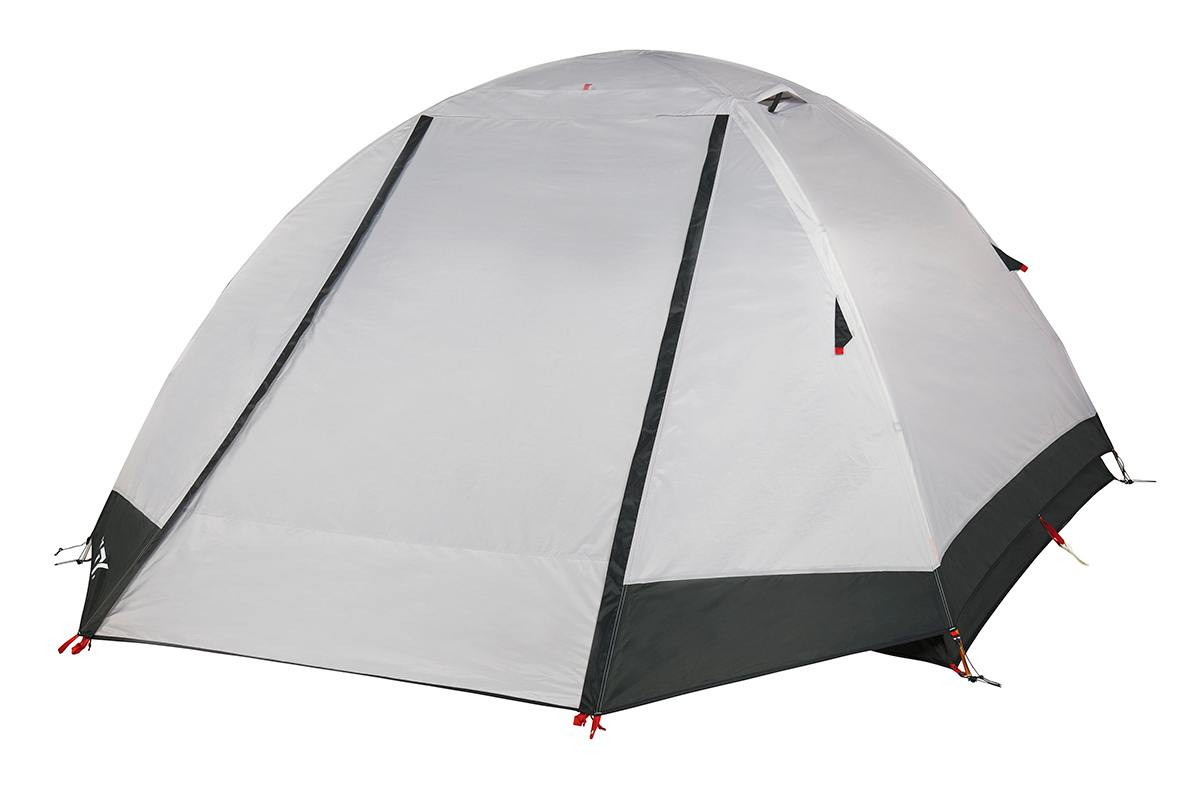 Kelty Gunnison 4 Tent, white, with rain fly attached and closed