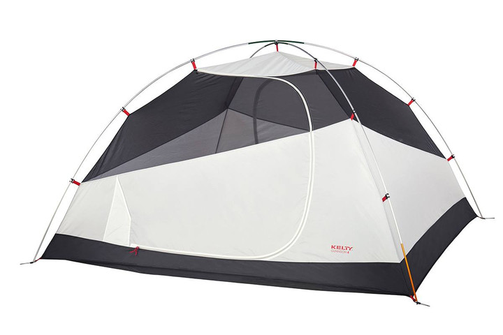 Kelty Gunnison 4 Tent, white, with rain fly removed and door closed