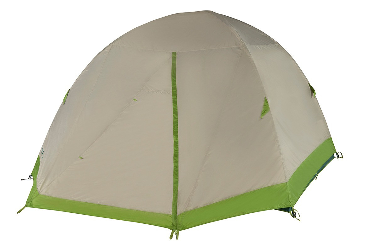Kelty Outback 6 person tent, shown with tan rain fly attached and fully closed