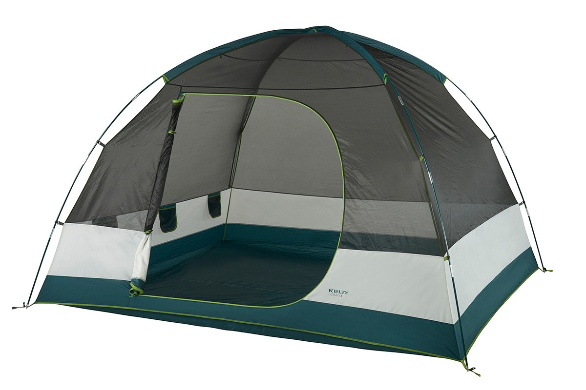 Kelty Outback 6 person tent, white/green, shown with rain fly removed and door unzipped