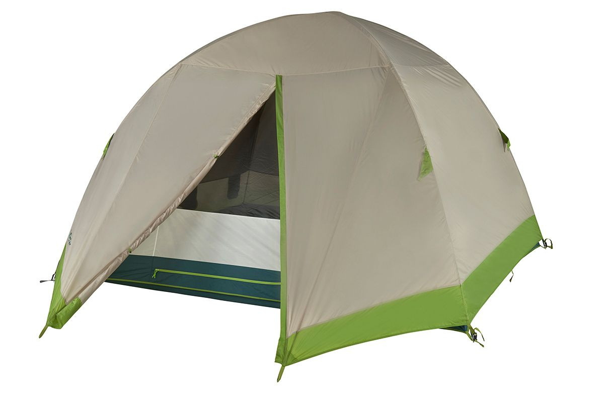 Kelty Outback 6 person tent, shown with tan rain fly attached and partially opened