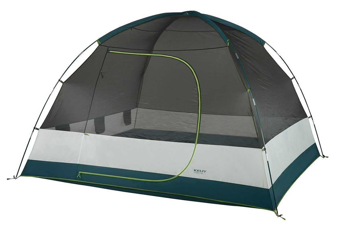 Kelty Outback 6 person tent, white/green, shown with rain fly removed
