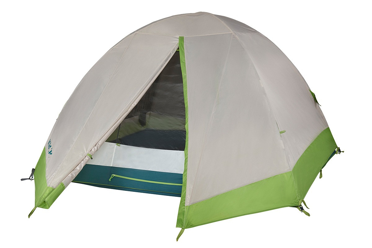 Kelty Outback 4 person tent, white/green, shown with rain fly attached and partially opened
