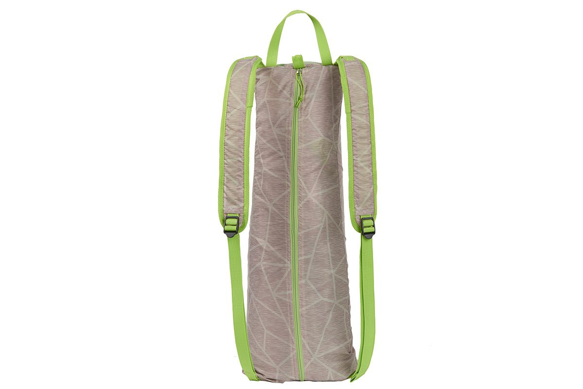 Kelty Sunshade With Side Wall, green, shown packed inside gray backpack-style carrying bag