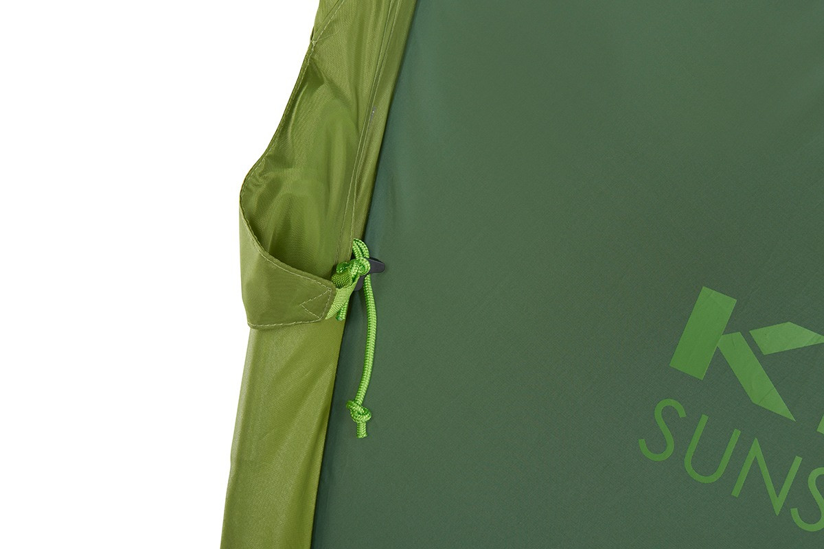 Close up of Kelty Sunshade With Side Wall, showing how guyline can be stored inside small nylon pocket attached to the body of sunshade