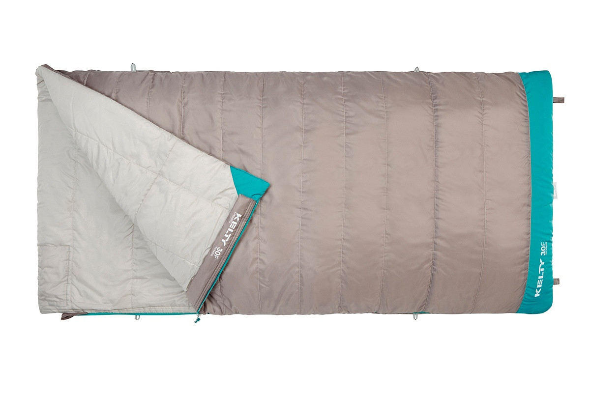 Kelty Women's Callisto 30 sleeping bag, taupe, unzipped quarter length to show light gray interior fabric