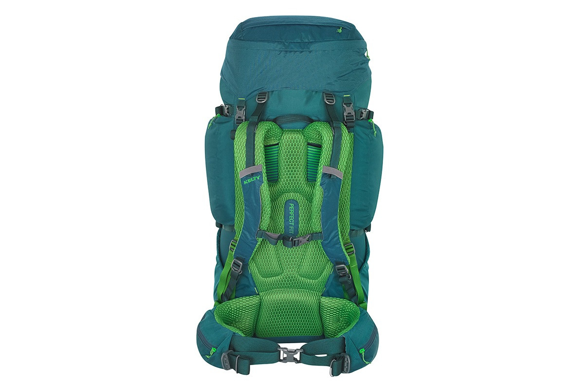 Kelty Coyote 65 backpack, Ponderosa Pine, rear view, showing padded shoulder straps and waist belt