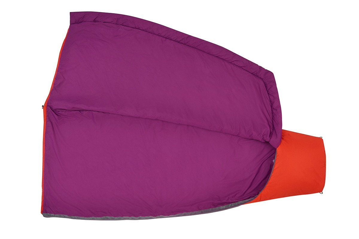 Kelty Rambler 50 sleeping bag, Fire Orange, unzipped full length to show purple interior fabric