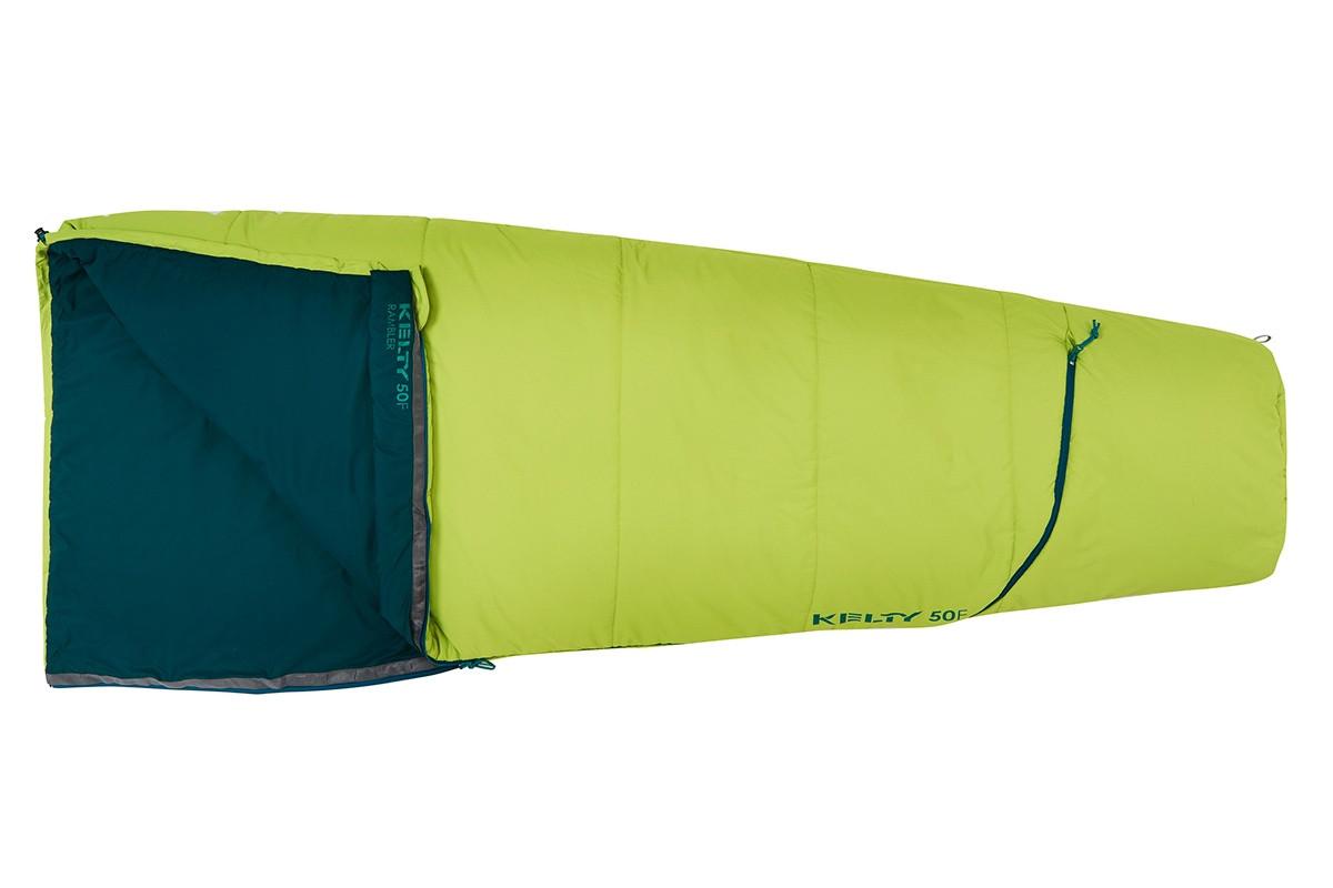 Kelty Rambler 50 sleeping bag, Green Apple, shown fully closed