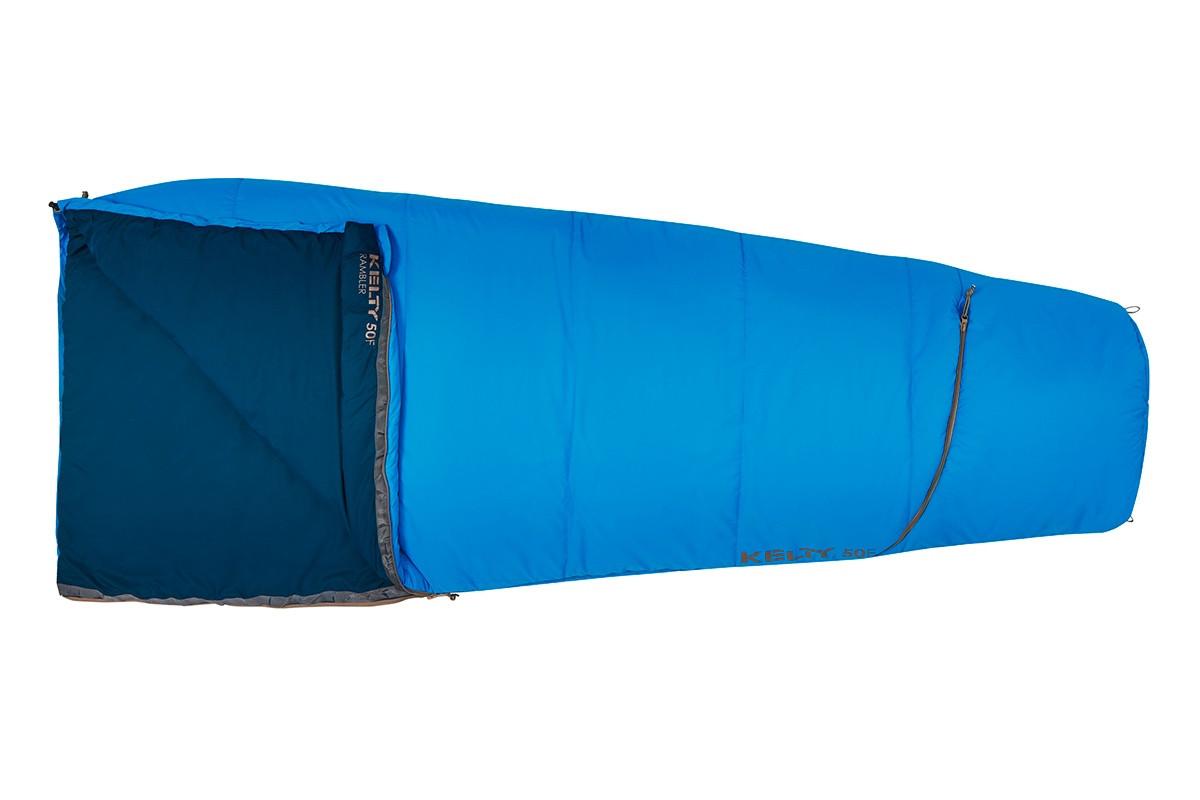 Kelty Rambler 50 sleeping bag, Paradise Blue, shown fully closed
