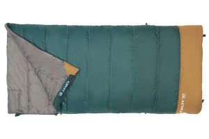 Kelty Callisto 30 sleeping bag, green, opened quarter length to show gray interior