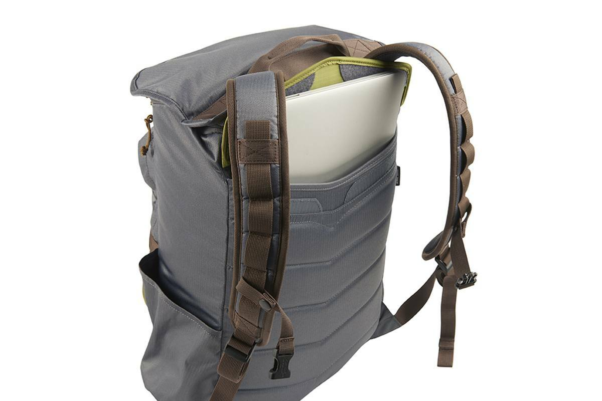 Kelty Ardent backpack, Castle Rock colorway, rear view showing how the pack can hold a laptop in a large rear pocket