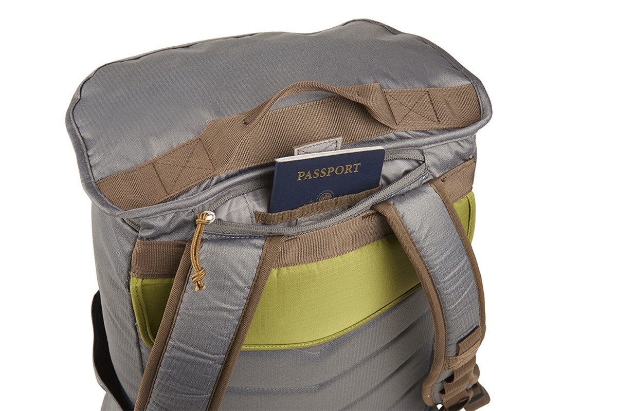 Kelty Ardent backpack, Castle Rock colorway, rear view , showing how the pack can hold a passport in a small rear pocket