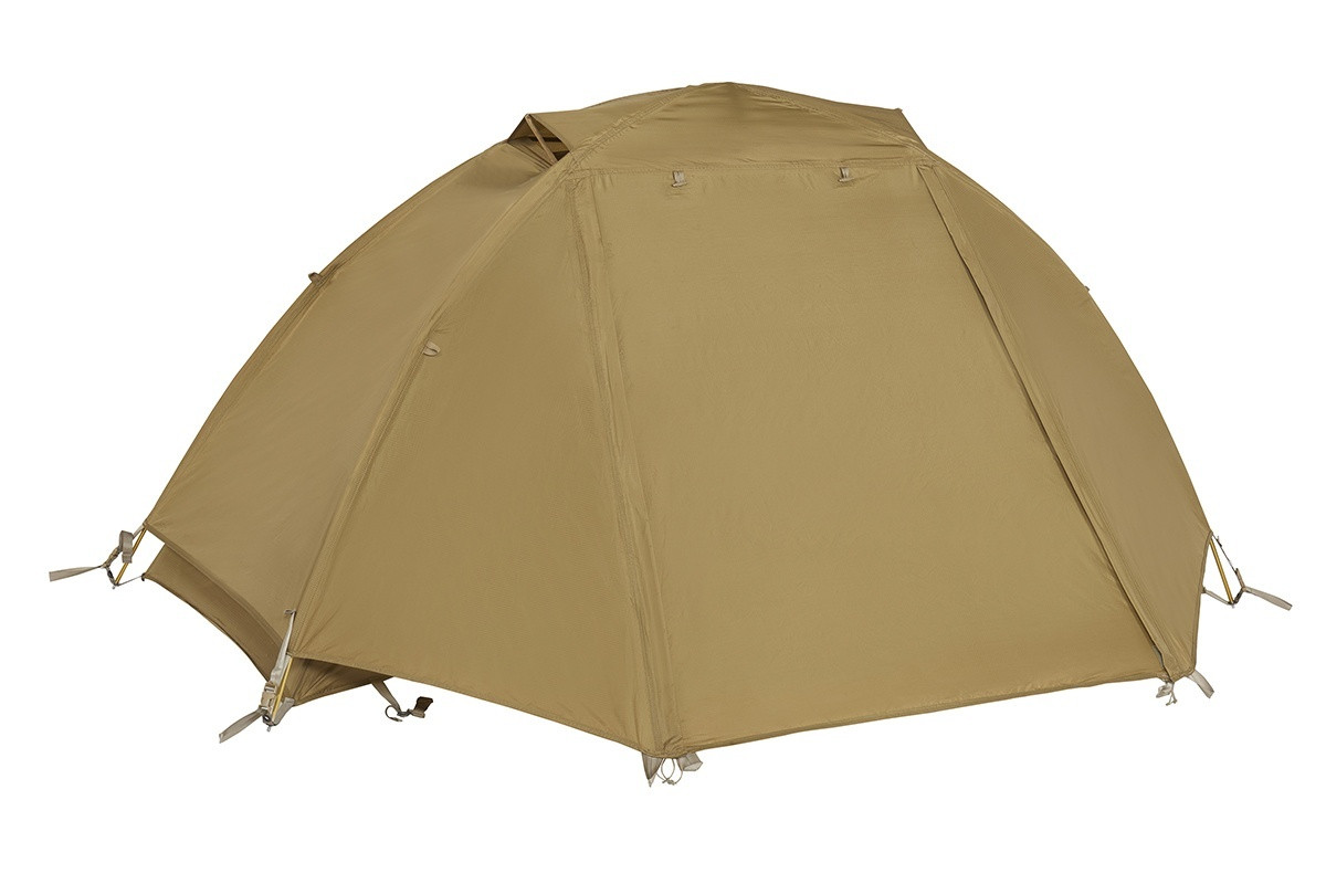 Kelty 1 Man Field Tent Coyote Brown with rain fly attached and closed