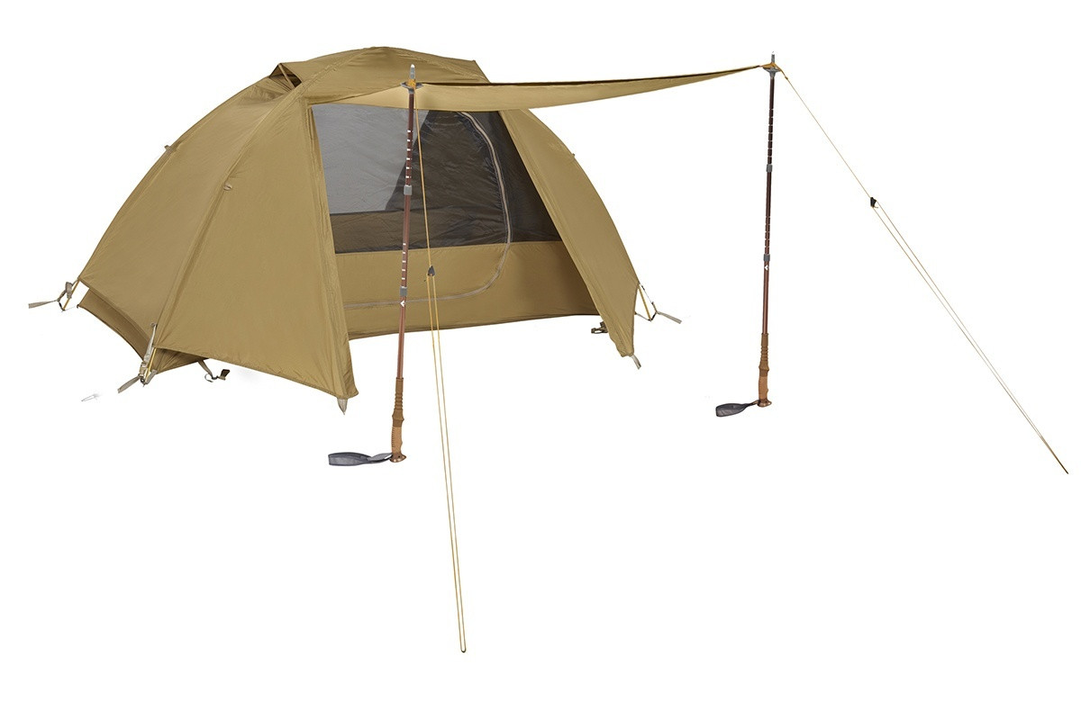 Kelty 2 Man Field Tent Coyote Brown with rain fly attached and awning deployed with trekking poles