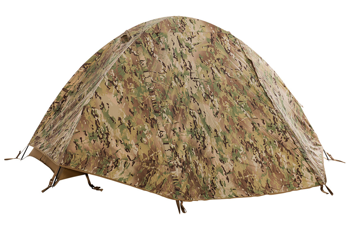 Kelty 2 Man Field Tent Multicam with rain fly attached and closed