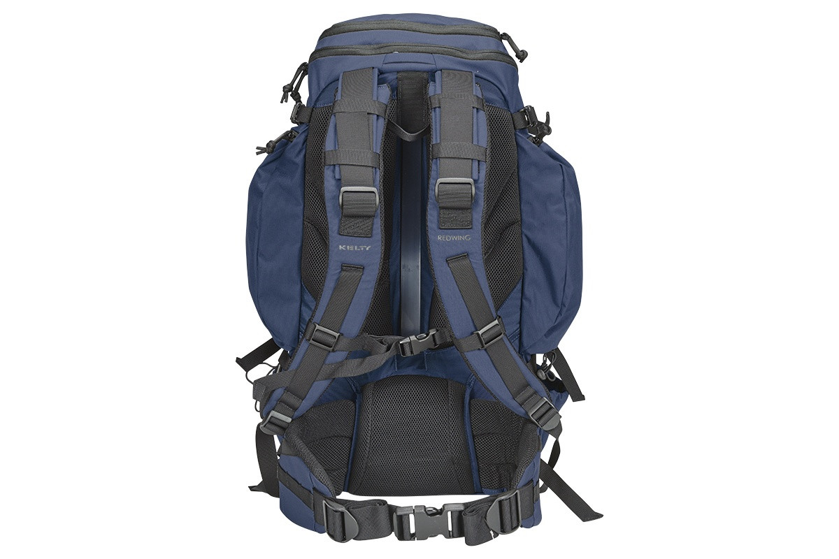 Kelty Redwing 44 Tactical backpack, Navy, rear view, showing padded shoulder straps and waistbelt