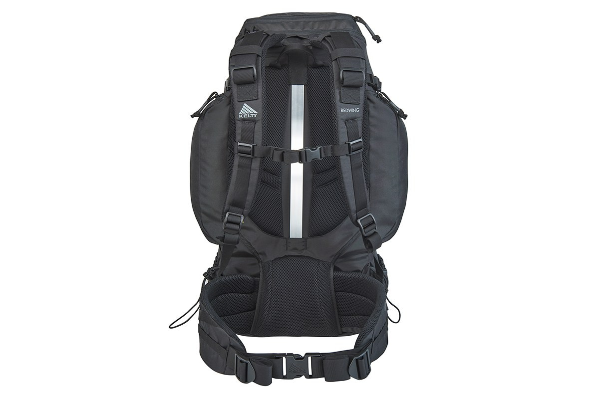 Kelty Redwing 50 Tactical backpack, rear view, showing padded shoulder straps and waistbelt