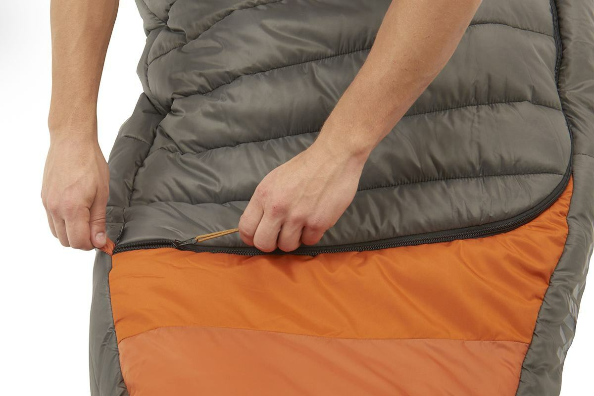 Close up of Kelty Tuck 0 Degree Sleeping Bag, showing how the zipper extends all the way across the bottom quarter of bag