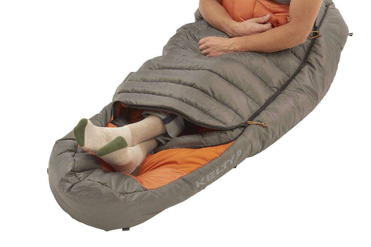 Kelty Tuck 0 Degree Sleeping Bag, shown with bottom unzipped to allow for venting of feet