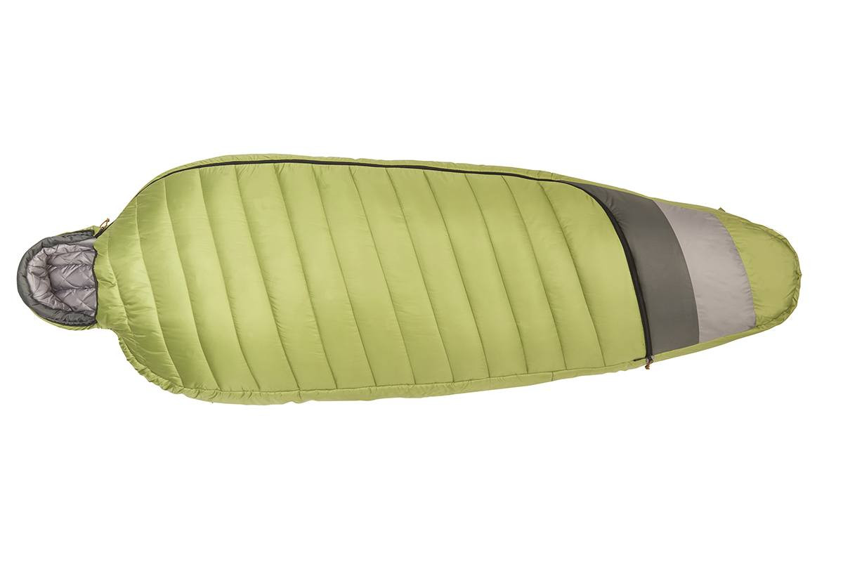Kelty Tuck 20 Degree Sleeping Bag, lime green/gray, shown fully zipped