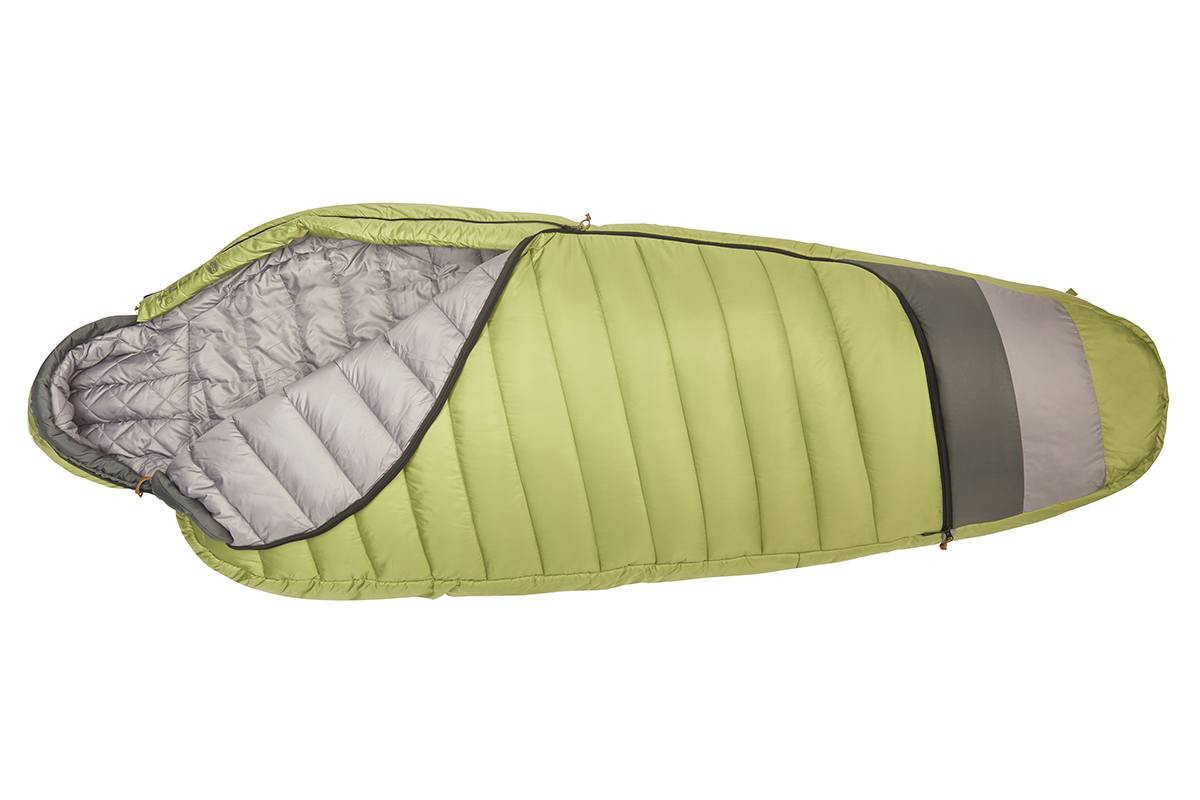 Kelty Tuck 20 Degree Sleeping Bag, lime green/gray, unzipped quarter length to show gray interior fabric