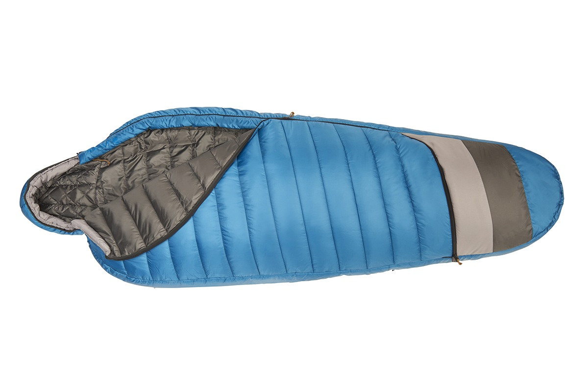 Kelty Tuck 40 Degree Sleeping Bag, blue/gray, unzipped quarter length to show dark gray interior fabric