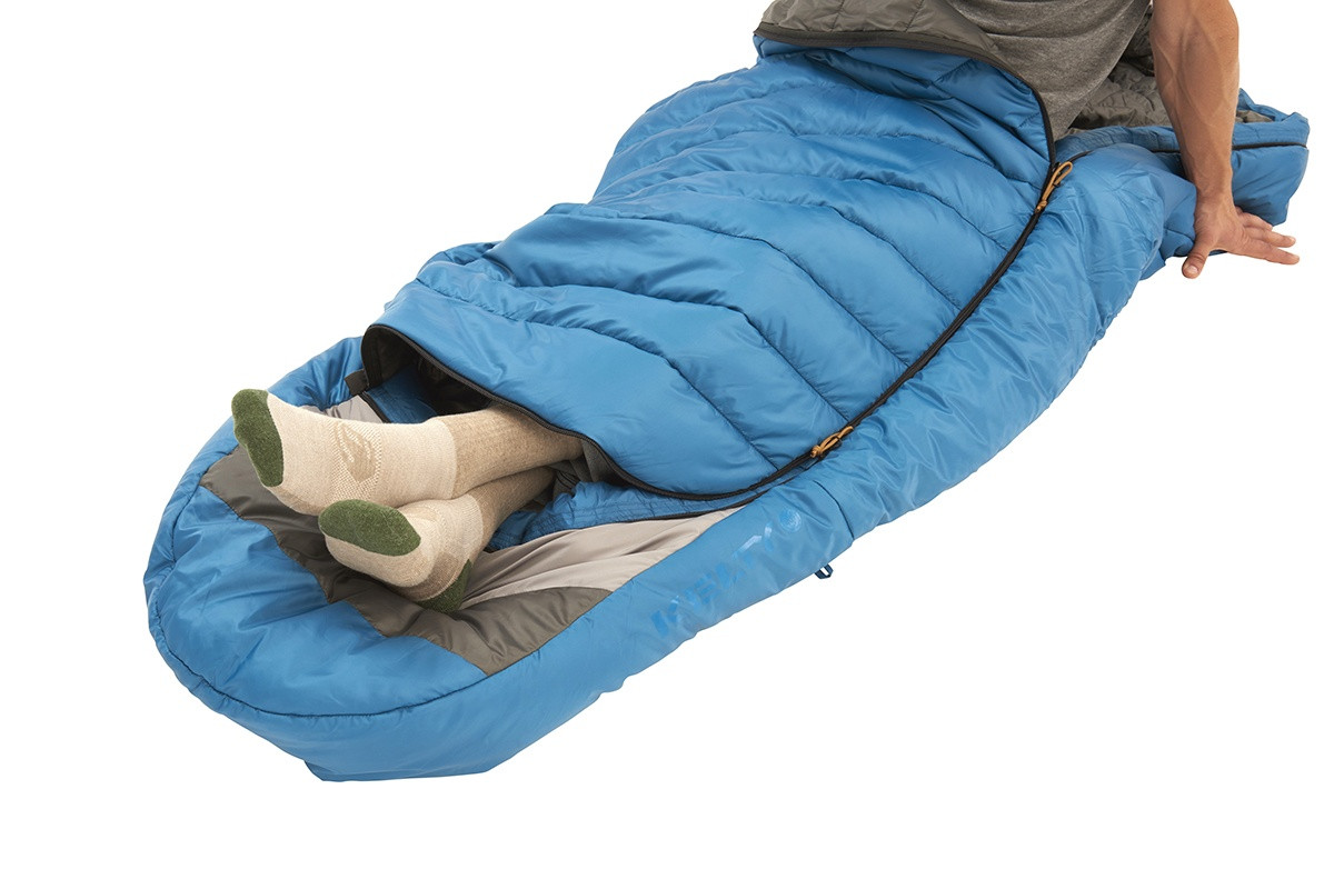 Kelty Tuck 40 Degree Sleeping Bag, with bottom unzipped to allow for venting of feet