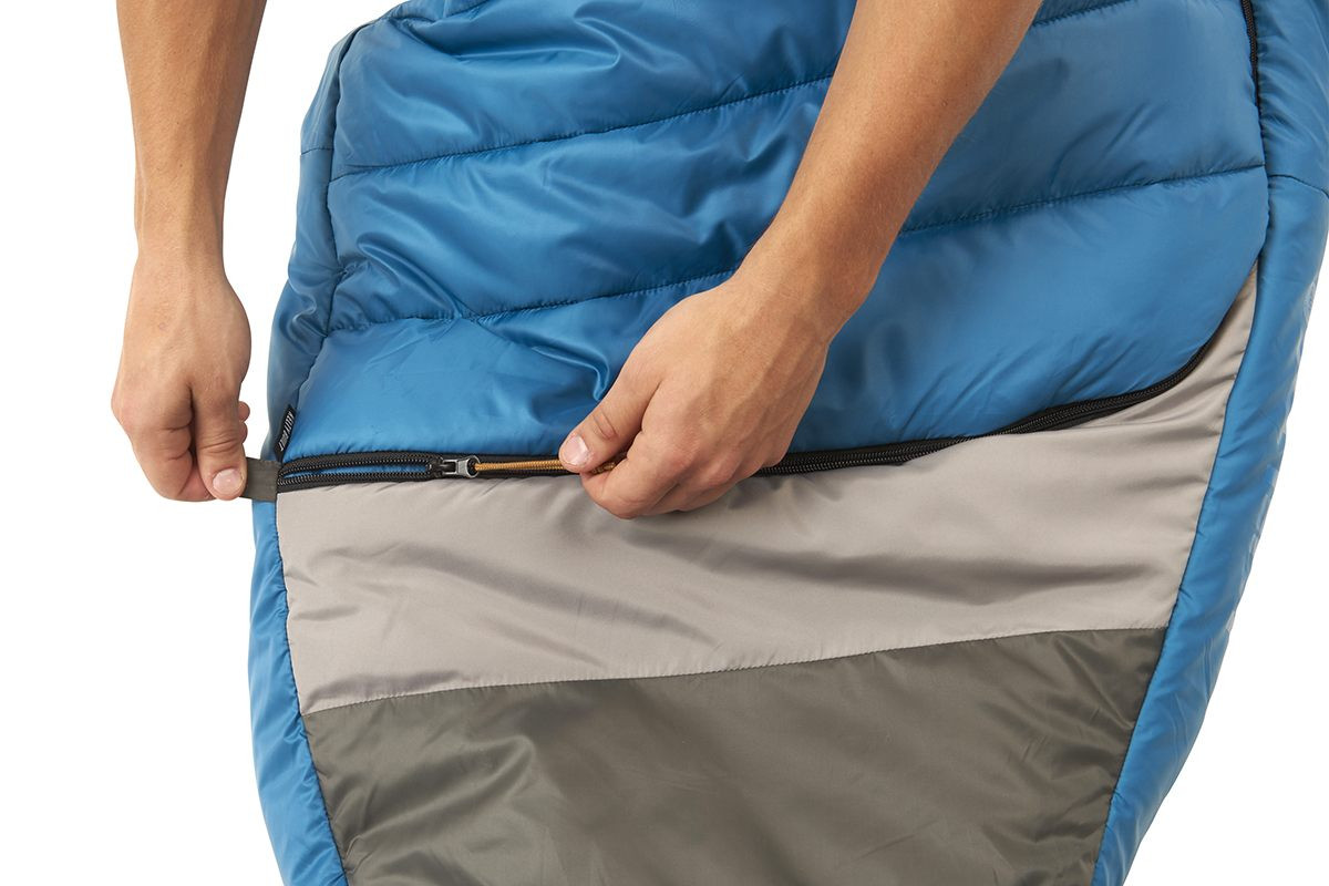 Close up of Kelty Tuck 40 Degree Sleeping Bag, showing how the zipper extends all the way across the bottom quarter of bag