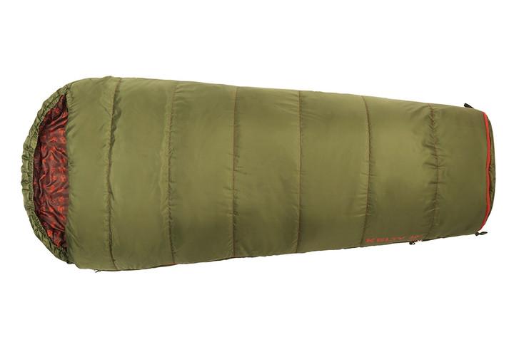 Kelty Boy's Big Dipper 30 sleeping bag, green colorway, top view, closed