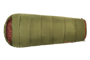 Kelty Boy's Big Dipper 30 sleeping bag, green, top view, closed, in 'shortened' mode