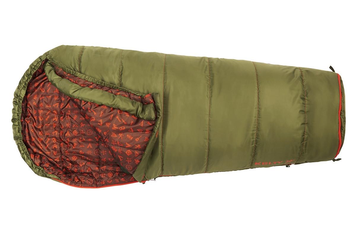 Kelty Boy's Big Dipper 30 sleeping bag, green colorway, top view, opened