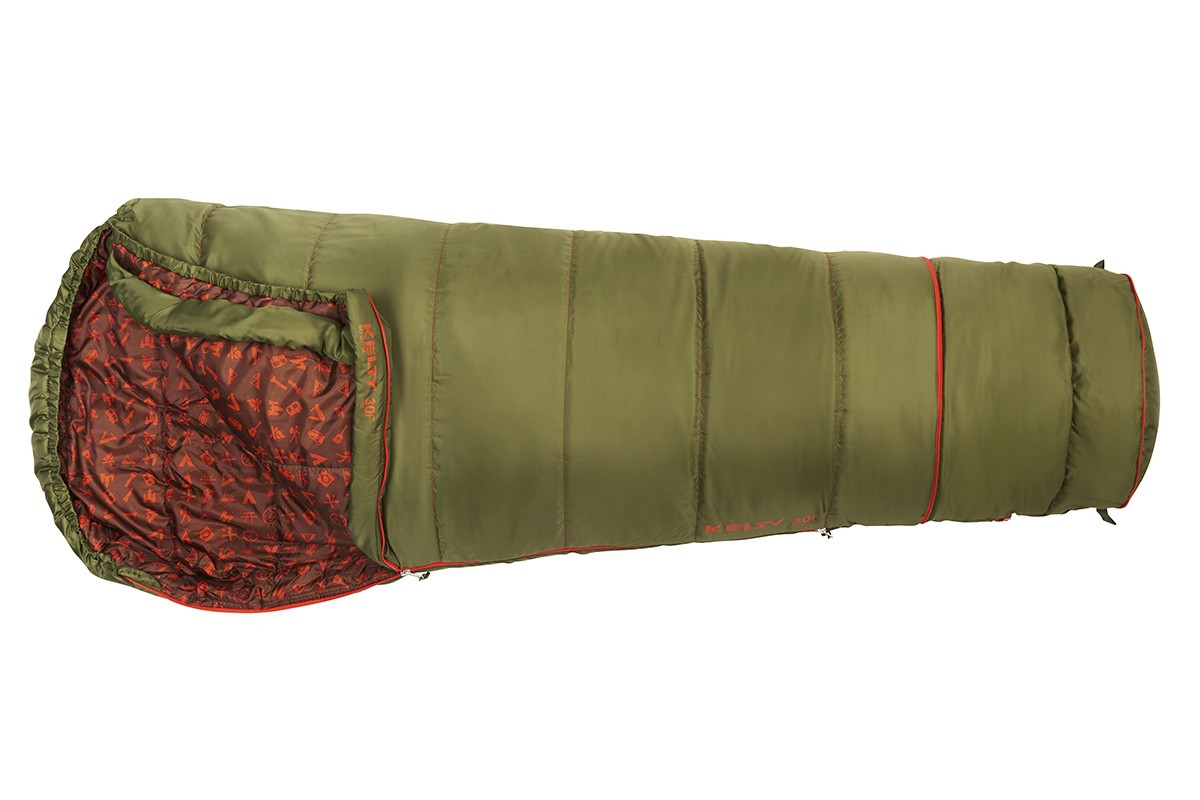Kelty Boy's Big Dipper 30 sleeping bag, green, top view, opened,  in 'lengthened' mode