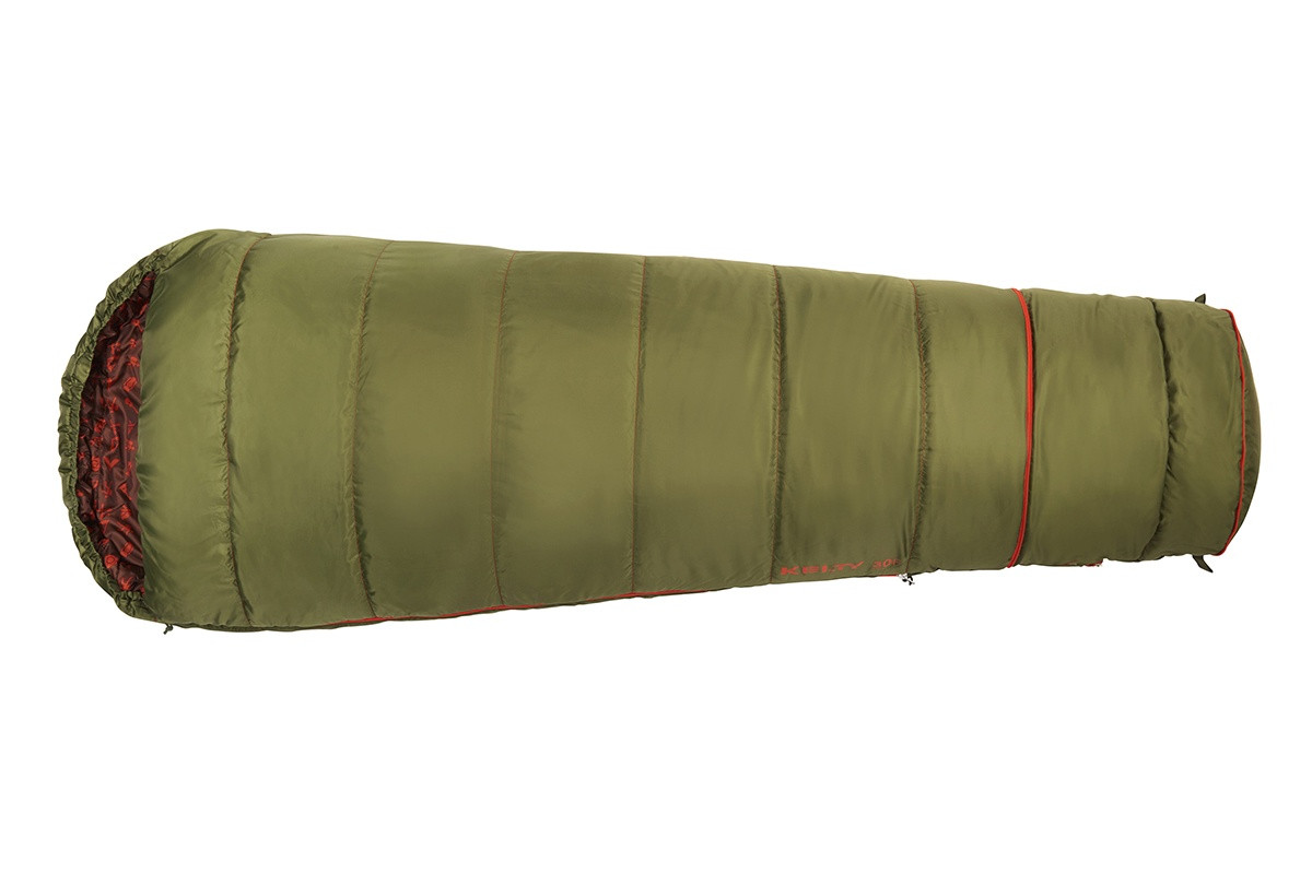 Kelty Boy's Big Dipper 30 sleeping bag, green, top view, closed, in 'lengthened' mode