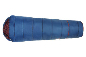 Kelty Girl's Big Dipper 30 sleeping bag, blue, fully zipped, with bottom section expanded for extra length