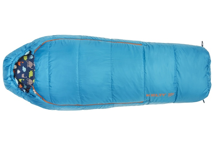 Kelty Boy's Woobie 30 sleeping bag, blue colorway, top view, closed