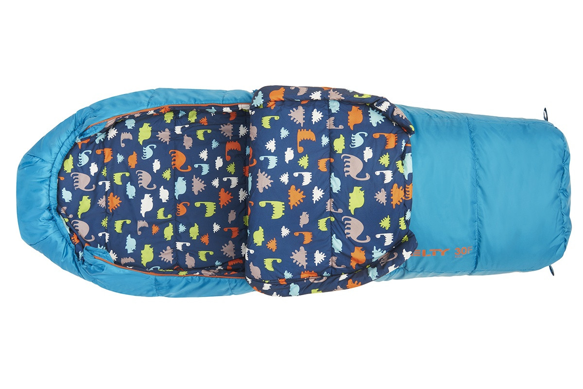 Kelty Boy's Woobie 30 sleeping bag, blue colorway, top view, opened