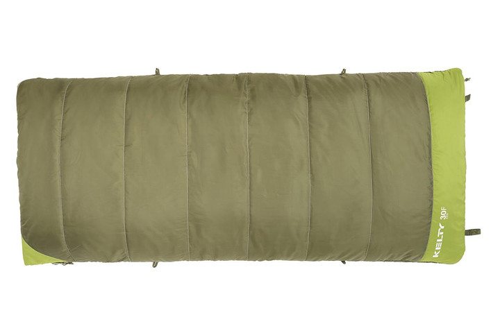Kelty Boy's Callisto 30 sleeping bag, green colorway, top view, closed