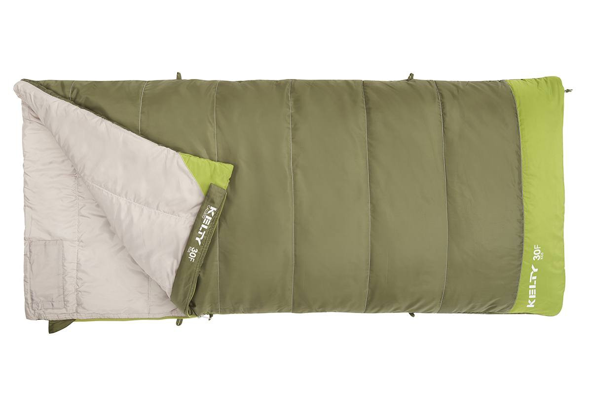 Kelty Boy's Callisto 30 sleeping bag, green colorway, top view, opened