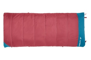Kelty Girl's Callisto 30 sleeping bag, dark red, fully zipped