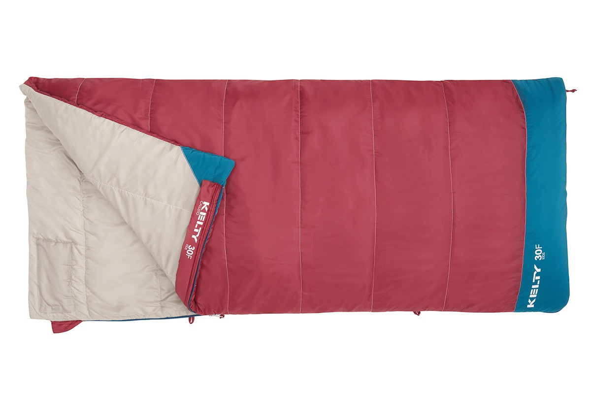 Kelty Girl's Callisto 30 sleeping bag, dark red, unzipped quarter length, showing tan interior fabric