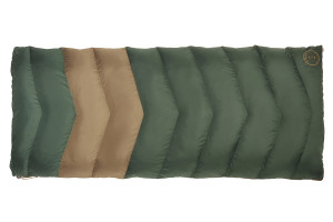 Kelty Galactic 30 Dridown sleeping bag, green with tan stripe, fully zipped
