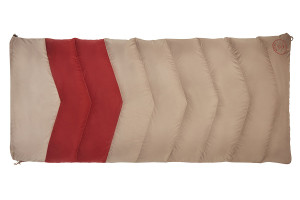 Kelty Women's Galactic 30 Dridown sleeping bag, tan/red, fully zipped