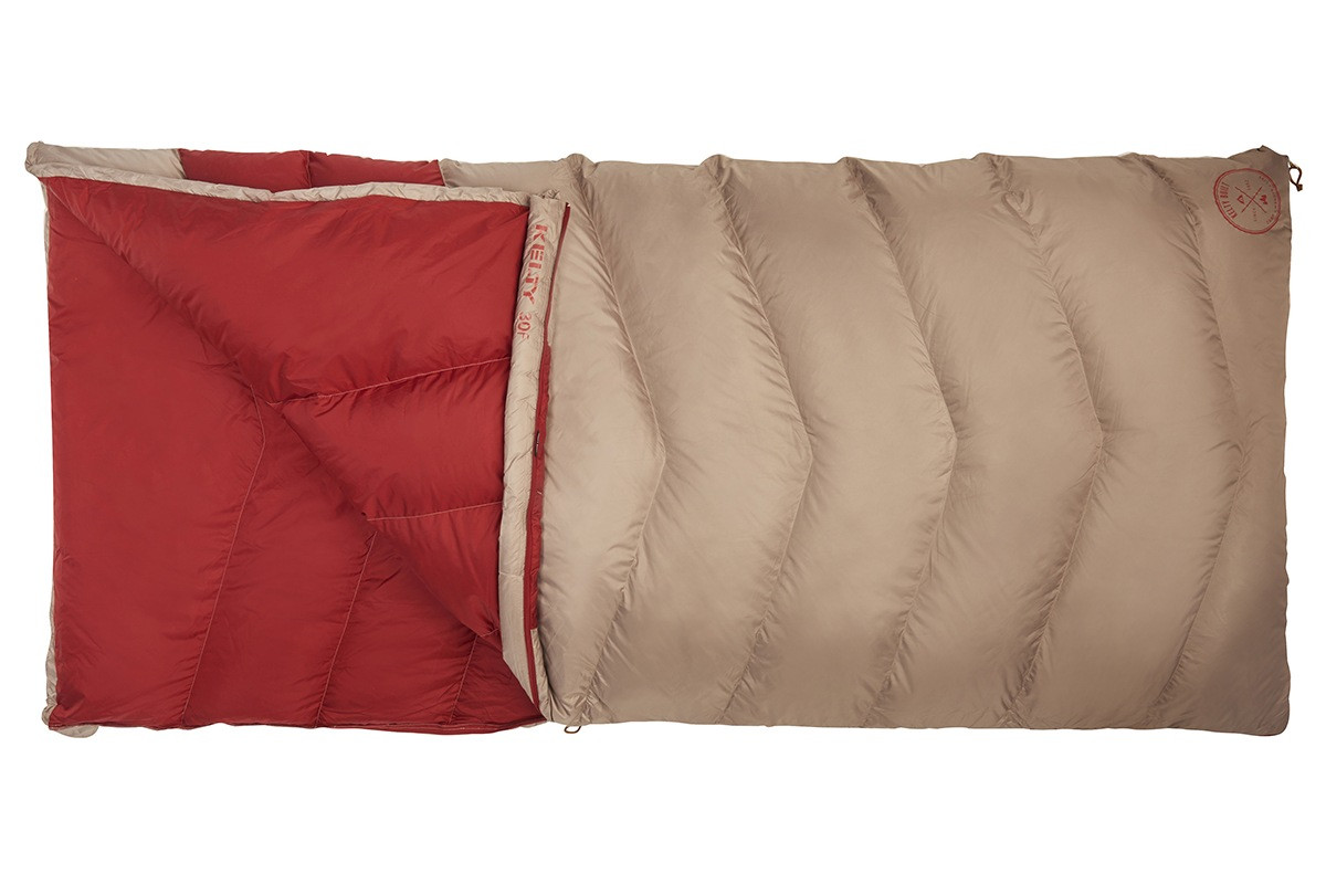 Kelty Women's Galactic 30 Dridown sleeping bag, tan/red, unzipped quarter length to show red interior fabric