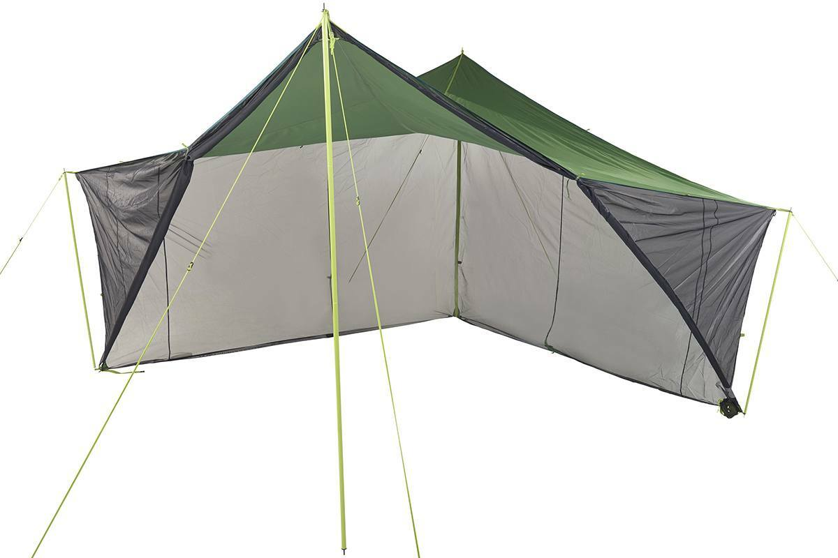 Kelty Noah's Screen 12 screen house, dark gray/green, with mesh side walls unzipped  and rolled up
